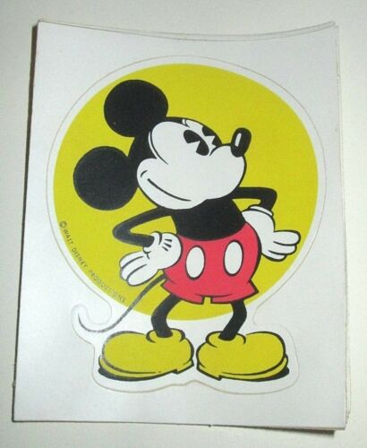 WALT DISNEY PRODUCTIONS CHARACTER STICKER 1970s MICKEY MOUSE VINTAGE CLASSIC
