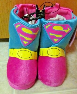 SUPERGIRL Plush Boot~ Toddler slippers Size LARGE (9-10)~NEW with tags