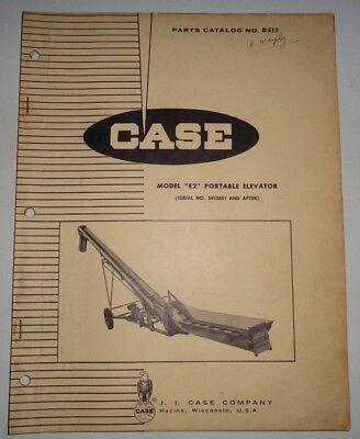 Case Model E2 Portable Elevator Parts Catalog Manual Book Original Hay Corn Oats