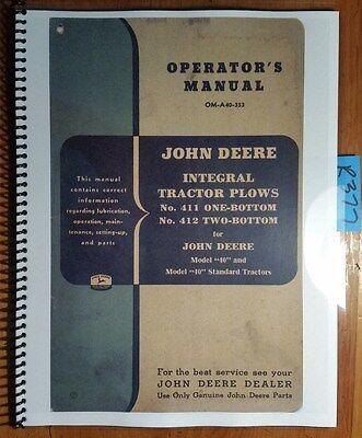 John Deere 411 412 1 2 Bottom Integral Tractor Plow Owner Operators Manual 353