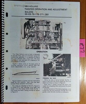 New Holland 68 69 78 178 271 280 Baler Twister Operation Adjustment Manual 65