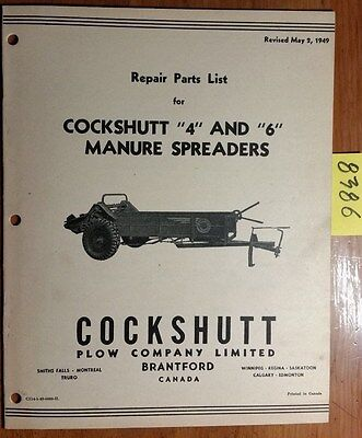 Cockshutt 4 6 Manure Spreader Repair Parts List Catalog Manual C114-5-49 549