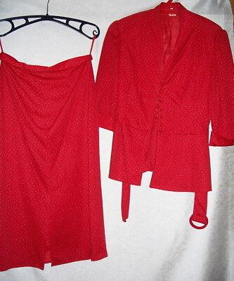 3-teiliges Kostüm Rock Top Bluse  Gr. 40 Farbe rot  SCHLANKE Größe  neuwertig