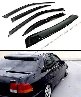 FOR 1996-00 HONDA CIVIC 4DR SEDAN SMOKE Ass ROOF WINDOW + SIDE DOOR VISOR COMBO