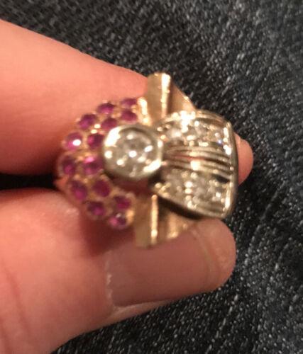 Modern Look Gold Large Diamond Ruby Ring - $500.00