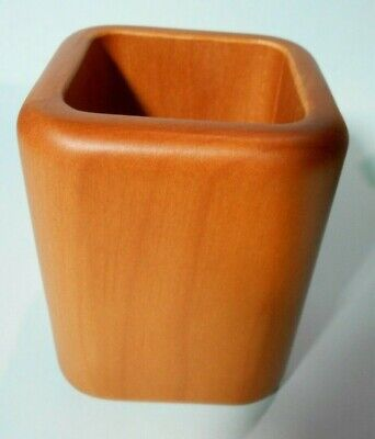 Deluxe Solid Wood Pencil Cup Med Cherry Finish 3 18 X 3 18 X 4