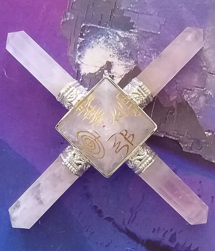 4 POINT SOLID ROSE QUARTZ CRYSTAL REIKI GOLD ENGRAVED PYRAMID ENERGY GENERATOR