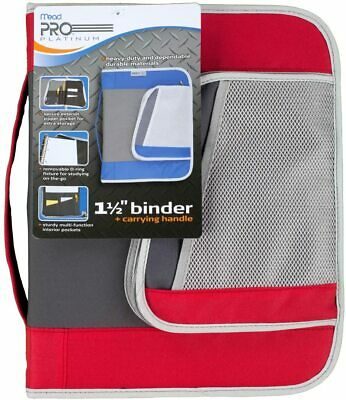 Mead Pro Platinum Heavy-duty Zipper Binder With Handle 1.5 Capacity Red
