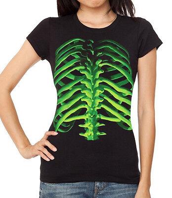 Glowing Skeleton - Junior's Glowing Skeleton Bones Black Shirt Women's Scary Toxic Halloween Tee