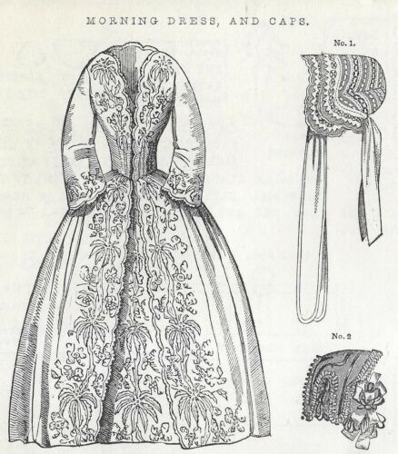 "5.5""ANTIQUE MINIATURE/DOLLHOUSE LADY DOLL@1850 MORNING DRESS HAT PURSE PATTERN"