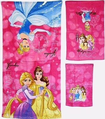 Disney Princess Themes (DISNEY FAVORITE CARTOONS THEMES BATH TOWEL SET 3PC 100% COTTON PINK)