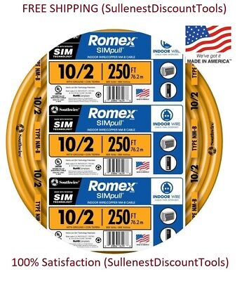 Southwire Romex 28829055 250-ft 10-2 Non-metallic Copper Wire Nm-b Simpull New