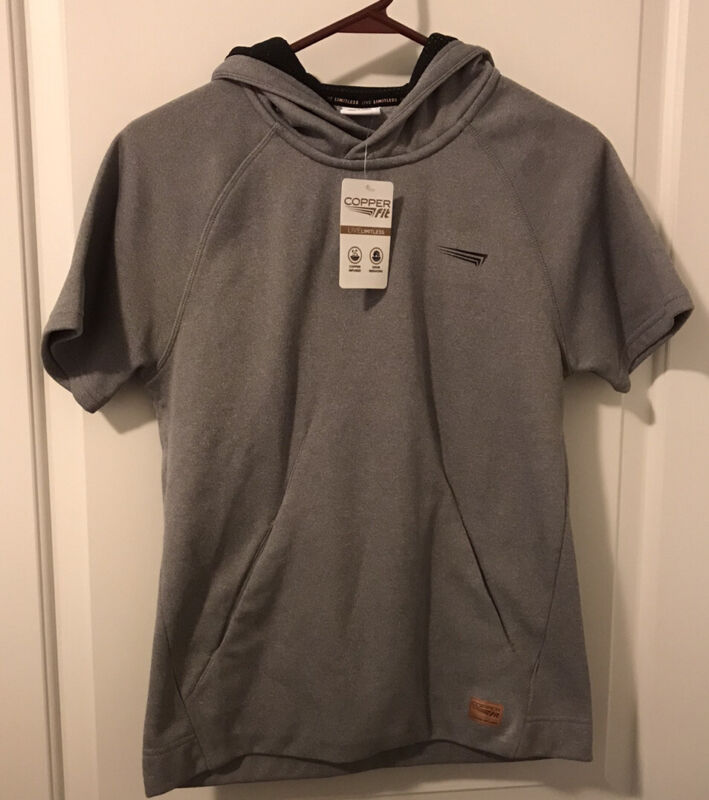 NWT Copper Fit Gray Copper Infused/Odor Reducing SS Hoodie - Youth L or Women S