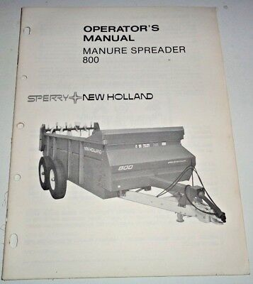 New Holland 800 Manure Spreader Operators Owners Maintenance Manual Nh