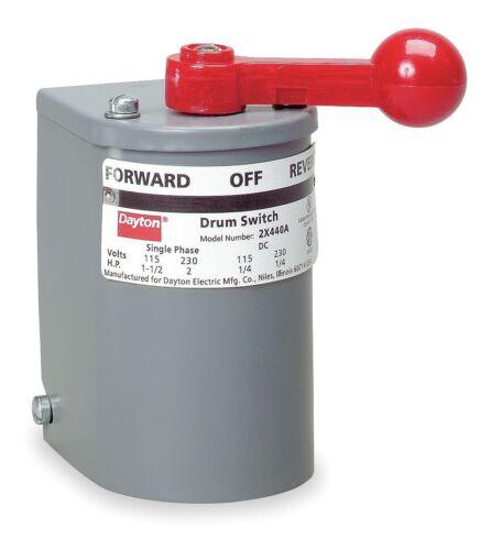 Dayton 2X440 Maintained Reversing Plastic Drum Switch, 2 Pole - Authorized Dist