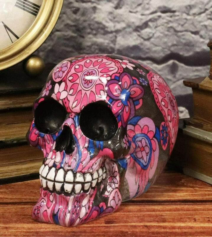 Ebros Day Of The Dead Fuschia Pink Metronome Floral Tattoo Sugar Skull Statue