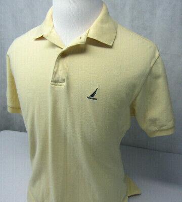 Nautica Sailing Yellow Mesh Cotton S/S Sailboat Logo Golf Polo Shirt Mens M