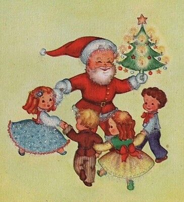 VTG GLITTERED SANTA CLAUS DANCING WITH CHILDREN CHRISTMAS TREE CARD UNUSED