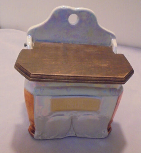 """Salt Box, Wall, White Block, Germany, Luster Ware 6.75"""" Tall 5.5"""" Across Vintage"""