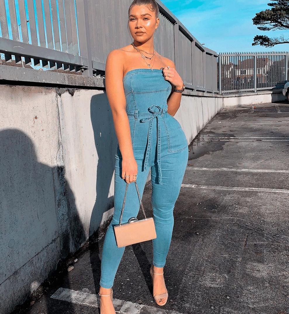 Women Denim Jeans Jumpsuit Strapless Bodycon Party Romper Pl