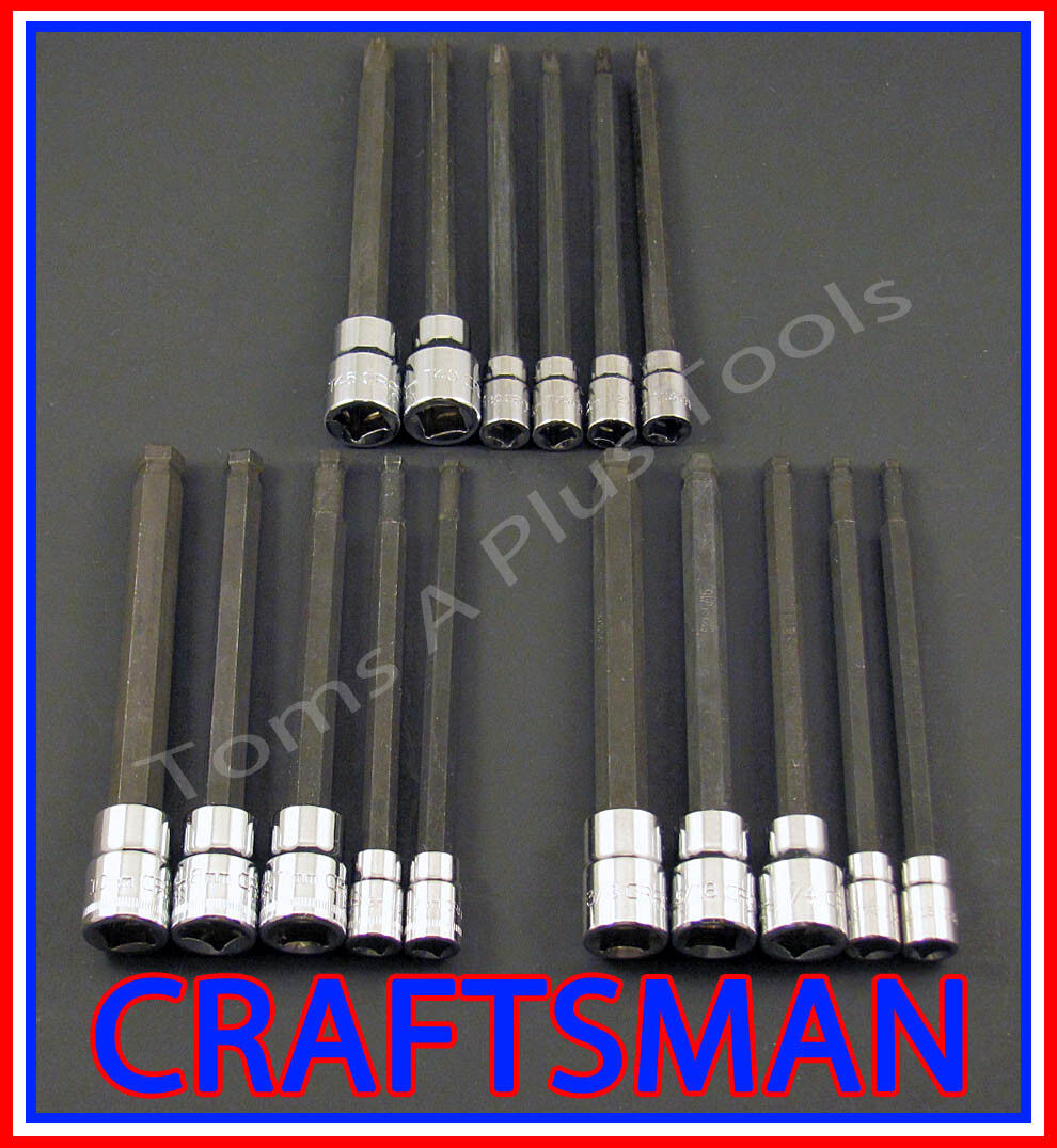 CRAFTSMAN 16pc 1/4 3/8 LONG SAE&METRIC MM Torx Hex Allen bit