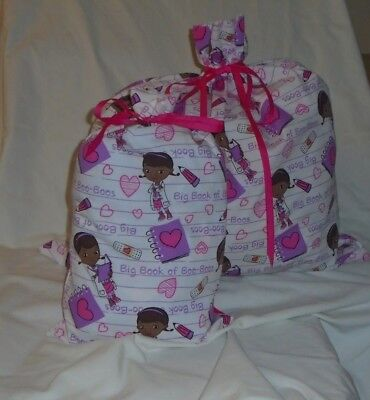 Doc McStuffins Design Homemade Fabric Gift Bag with Attached Ribbon