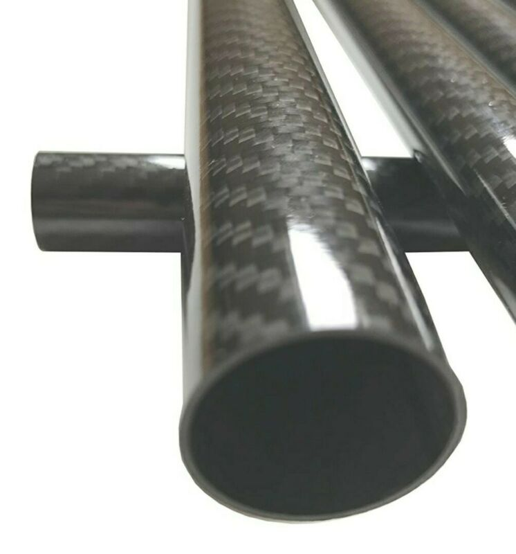 Carbon Fiber Tube - 25mm x 23mm x 1000mm - 3K Roll Wrapped 100% Glossy Surface