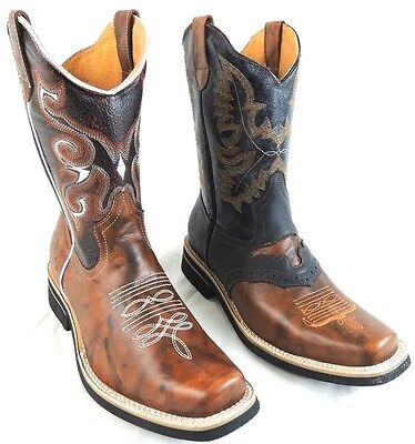 Mens Rodeo Cowboy Boots Genuine Leather Western Square Toe Boots
