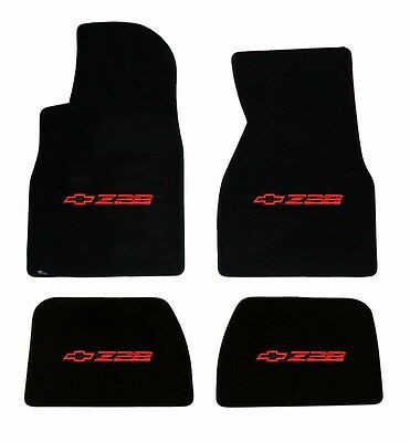 NEW BLACK FLOOR MATS 1993 2002 Camaro Embroidered Z28 Logo in Red on all 4 set