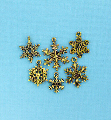 Snowflake Charm Collection Antique Gold Tone 6 Different Charms - COL132 Antique Gold Snowflake