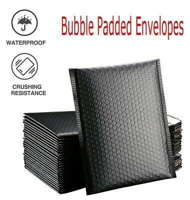 50pcs Bubble Wrap Envelopes Bags Mailers Padded Documents Waterproof Black 18x13