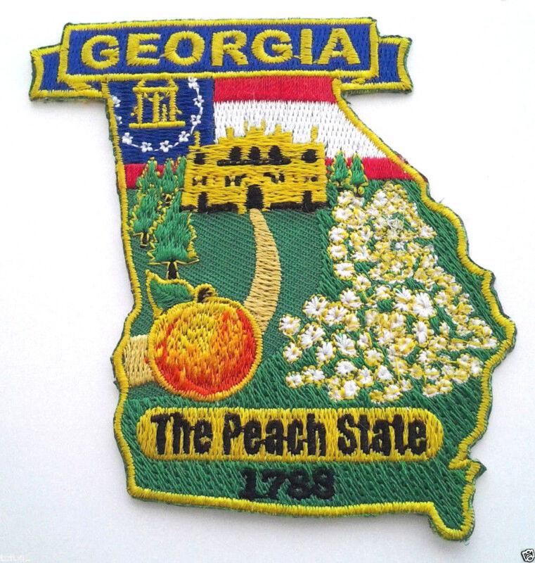 """GEORGIA STATE MAP (3-5/8"""") Biker Patch PM6711 EE"""