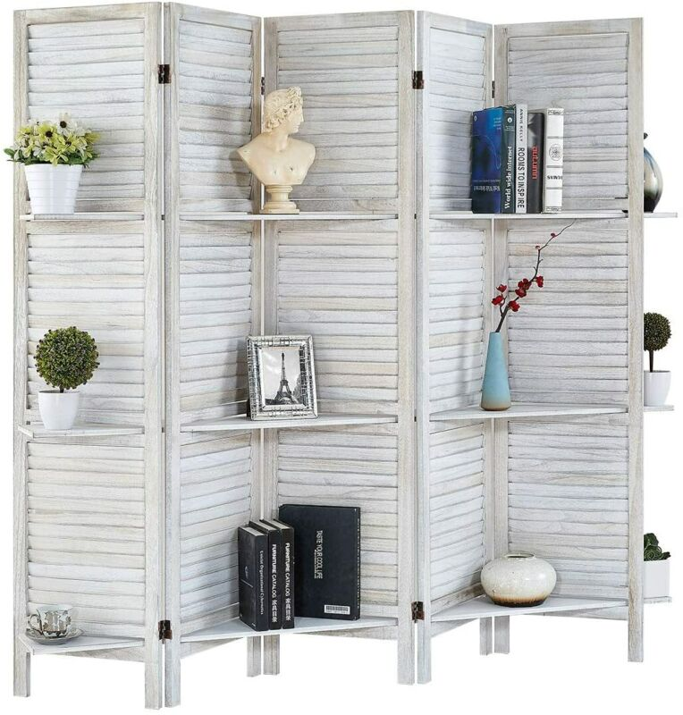 5 Panels 5.6 Ft Partition Wood Room Divider Folding Privacy Screens with Shelves
