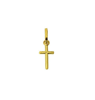 (14K Real Yellow Gold Small Tiny Religious Cross Charm Pendant Baby & Children)