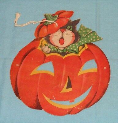 Halloween Cutouts (vintage Halloween CAT WITH BOWTIE INSIDE PUMPKIN JOL DECORATION)