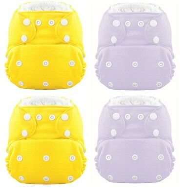 On Sale! The HERO Pocket Cloth Diaper (4-PACK GIRL) 2 Yellow 2 Purple -M1506083L