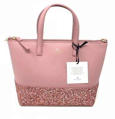 Kate Spade Greta Court Ina Dusty Peoni Pink Glitter Crossbody Bag WKRU5610 $169