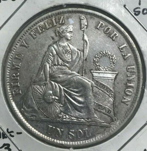1868 YB Peru 1 One Sol - Nice AU Silver
