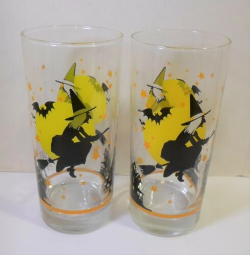 """2 Vintage HALLOWEEN GLASS TUMBLERS - FLYING WITCH BAT HAUNTED HOUSE 6.25"""" Tall"""