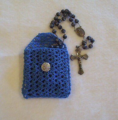 Hand Crochet Blue Cotton Rosary Jewelry Pouch