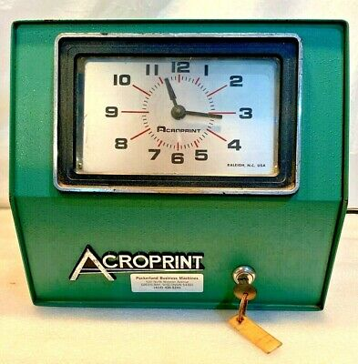 Acroprint Electric Time Clock..w Key Cards..model 200n5 Yw..tested Clean