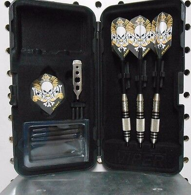 Viper Darts 24 gram Silver Thunder Steel Tip Dart set with Triple Skull Flights