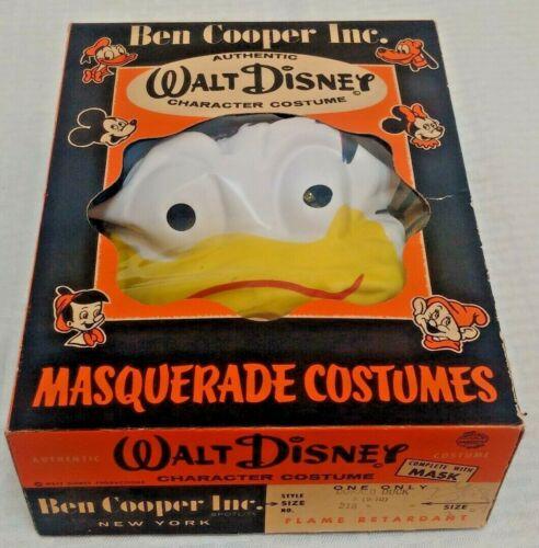 Vintage Ben Cooper Halloween Costume 1950s DONALD DUCK Mask Outfit MIB Disney