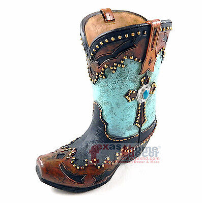 Western Boot Flower Vase Planter Turquoise Cross Golden Studs Rustic Holder