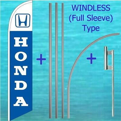 Honda Windless Banner Flag Pole Mount Kit Tall Curved Feather Swooper Ad Sign