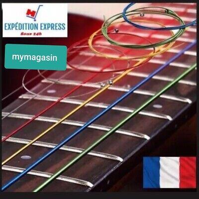 Jeu de 6 cordes couleurs guitare acoustique