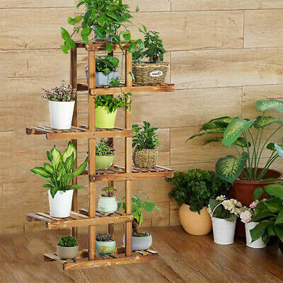 Indoor Outdoor Wood Plant Stand Multi Flower Shelf Storage European Style 6 Tier Outdoor Shelf Stand