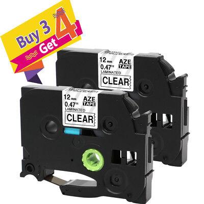 2pk Tze-131 Tz Compatible Brother P-touch Label Tape Refills Clear 12 Pt-d210