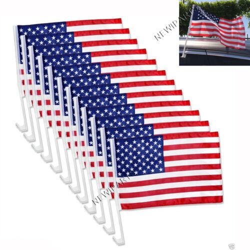 "12 Pack USA AMERICAN Car Flag Patriotic Car Truck Window Clip Flag 18""x12"""