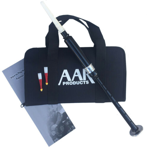 Scottish Highland Bagpipe Practice Chanter Black Silver Mount + Reeds, Bag, Book